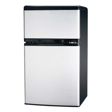 Curtis - Igloo 3.2 Cubic-Foot 2 Door Fridge Stainless Steel - FR834I Stainless Steel Curtis Igloo 3.2 Cubic feet 2 Door Refrigerator and freezer has an ice-cube tray, vegetable drawer with glass shelf and slide out shelves that makes it very functional.  It also features a built-in door can holder and door bottle holder.  The white fridge has a flush back design and comes with a reversible door.  The CFC-free Igloo refrigerator has an adjustable thermostat for ease of use.
