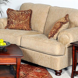 Chelsea Home - 66 in. Palm Loveseat - Includes toss pillows. Sofa in Christo tan cover. Pillows in brass cover. Seating comfort: Medium. Reversible seat cushion. Zippered pillows. Seat support super loop solid steel N-sag seat springs. Nine springs required. Dacron wrapped cushion cores for extra softness. Supportive and comfortable High density 1.8 foam cores cushions. Solid oak and select hardwoods frames with corner blocked. Made in USA. No assembly required. 66 in. L x 38 in. W x 35 in. H (90 lbs.)