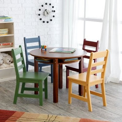 Lipper Childrens Walnut Round Table and 4 Chairs - Incredibly sturdy and featuring a whole rainbow of options the Lipper Childrens Walnut Round Table and 4 Chairs is ideal for any child. The table and chairs are made of sturdy beechwood so they can handle all the rough and tumble usage they're sure to see from your kids. The table features a classic Walnut finish while each chair features its own bright color of blue red green or yellow. A recessed lower shelf provides the perfect storage spot for small toys books or drawing supplies. This beautiful set will bring a new dimension of functionality to any room. This table and chairs set is perfect for puzzles tea parties and hours of fun. About Lipper InternationalLipper International provides exceptionally valued kitchen home & office organizers including the Soho Spice Collection; single serve coffee pod organizers; kitchen pantryware cutting boards and tools; serving & entertaining accessories; and children's furniture and toy chests. Lipper uses the finest quality materials including stainless steel bamboo acacia wood chrome- and powder-coated metals and other fine quality hard woods. Known for product functionality as well as beauty and quality craftsmanship Lipper International combines quality style service and price into every product and collection it offers.