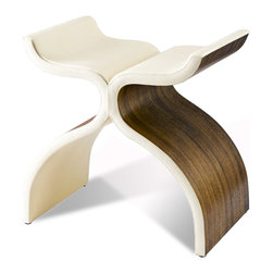 Kathy Kuo Home - Cluny Modern Sculptural Wood & Leather Stool - Good luck convincing your friends that this is a seat when they come and see the beautiful sculpture in your living room. Wood and leather combine to not only form a stool but a piece of art as well.