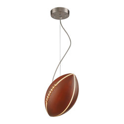 Elk Lighting - Elk Lighting Novelty Football Pendant Light X-1/5315 - Touchdown! They're going to rush! This contemporary wall pendant might cause you to celebrate excessively and proudly display your love of football. The football shade provides a clean and bright light that looks outstanding in your living room, kitchen, den, dining room, or lounge. The satin nickel finish gleams with outstanding durability and premium quality so you can always expound on the finer points of a 57 yard punt return.