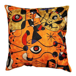"""Modern Silk - Miro Pillow Cover People Night Orange Hand Embroidered 18"""" x 18"""" - Expertly handcrafted chain-stitch embroidery with a design inspired by the works of modern artist, Joan Miró. The abstract qualities of this piece, as well as the juxtaposition of primary colors and pastels of this decorative cushion cover, create a vibrant point of interest for your décor. Created of soft Kashmir wool over cotton, this all-natural cover makes an enduring impression."""