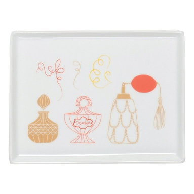 Danica Studio - Powder Room Tray - What powder room is complete without a gorgeous tray to hold your trinkets? Elegant eau de parfum bottles decorate this porcelain tray, guaranteeing it will beautify your bathroom or boudoir.