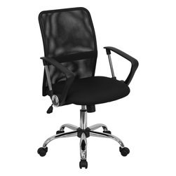 Flash Furniture - Flash Furniture Mid-Back Black Mesh Computer Chair with Chrome Finished Base - This office chair shows off a distinct appearance with its curved back and chrome framed arms. The breathable mesh back is an added bonus for keeping your back cool when sitting for long periods of time. Chair features attractive chrome arms with polyurethane arm caps.