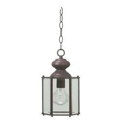 Joshua Marshal - One Light Cobblestone Clear Glass Hanging Lantern - One Light Cobblestone Clear Glass Hanging Lantern