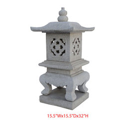 Elegant Japanese Pagoda Garden Marble Stone Garden Lantern - Look at this unique Japanese pagoda which is made of marble stone. It can be put at your garden as lantern. Especially, it is composed with six pieces.