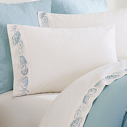 Harbor House - Harbor House Coastline 250TC Sheet Set - Bring a bit of sea side inspiration into your home with this beautiful bedding collection. The Coastline collection has an intricate coral motif embroidered on a soft 100% cotton pique. The coordinating sheet set has beautiful shell motifs embroidered along the cuff of the flat sheet and pillowcases. This bed is sure to bring a sense of comfort and relaxation to your room. T250 100% cotton sateen with shell emb