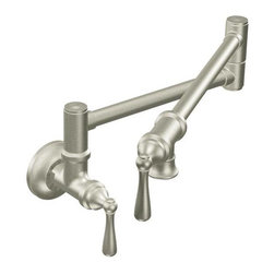 Traditional Pot Filler spot resist stainless two-handle kitchen faucet - Ready to inspire the master chef in you? The Pot Filler is the ultimate epicurean luxury with all the details needed to ensure convenient flow control over a cooktop. Dual joints allow for maximum reach and dual shut–off valves mean never reaching over a hot surface to turn it off. Choose from two distinct styles – traditional or modern – to coordinate with any decor preference.