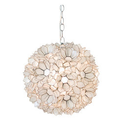 "Worlds Away Capiz Shell Floral Venus Pendant, Clear - 15""dia pink lotus capiz pendant with single 60w socket. Comes with 3' chrome chain and canopy. Also available in brown, natural, gold and turqouise."