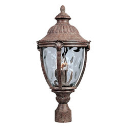Maxim Lighting - Maxim Lighting Morrow Bay DC Traditional Outdoor Post Lantern Light X-TEGW1813 - This Maxim Lighting outdoor post lantern light from the Morrow Bay Collection features a plethora of traditional and botanical themed details. The finial and curved dome roof have been paired with a classic lantern shape, with the entire design being finished in an eye-catching Earth Tone finish. A fluid water glass shade pulls the unique look of this post light together.