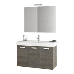 ACF - 40 Inch Grey Oak Bathroom Vanity Set - Set Includes: Vanity Cabinet (3 Doors), high-end fitted ceramic sink, wall mounted vanity mirror.