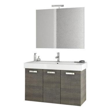 ACF - 40 Inch Grey Oak Bathroom Vanity Set - Set Includes: Vanity Cabinet (3 Doors), high-end fitted ceramic sink, wall mounted vanity mirror.