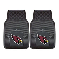 Fanmats - Fanmats Arizona Cardinals 2-piece Vinyl Car Mats - A universal fit makes this two-piece mat set ideal for cars, trucks, SUVs and RVs. The officially licensed Arizona Cardinals design in true team colors is permanently molded of vinyl for longevity.