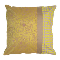 Kouboo - Lily Gold Silk Pillow Cover, Yellow-Gold & Gray - The colors and patterns of your decorative pillows make them one of the most expressive elements of your home style. Combine regular sized pillow covers with a lumbar pillow to add depth and variety to your stylish presentation. The motive is delicately printed onto Thai silk, where producing and weaving silk is a century old tradition. The refined patterns, colors and the shimmer are perfect for embellishing sofas or chairs, or incorporated into any bedroom decor.