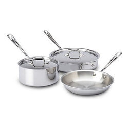All-Clad - All-Clad 3-Ply Stainless Steel 5-Piece Cookware Set - Tri-ply construction a heat-responsive aluminum core between an easy-care stainless-steel interior and exterior.  Bonded-metal construction ensures fast, even heating. Stainless-steel cooking surface with starburst finish provides superior stick resistance and wont react with foods. Ergonomic, riveted stainless-steel handles stay cool on the cooktop. Improved handles are now larger and more comfortable than before. Every piece features the size or capacity laser etched on the bottom and comes with a nylon storage bag to protect against scratches. Ideal for use on any type of cooktop, including induction. Dishwasher safe.. Lifetime warranty.. Handcrafted in USA.