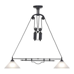 ZUO PURE - Agate Ceiling Lamp Antique Black Gold - Operating on an ingenious synchronized pulley system, the Agate ceiling lamp moves up and down or side to side at a touch. The lamp comes with two 60w bulbs and is UL approved.