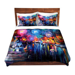 DiaNoche Designs - Duvet Cover Twill - Midnight Harbor xix - Lightweight and soft brushed twill Duvet Cover sizes Twin, Queen, King.  SHAMS NOT INCLUDED.  This duvet is designed to wash upon arrival for maximum softness.   Each duvet starts by looming the fabric and cutting to the size ordered.  The Image is printed and your Duvet Cover is meticulously sewn together with ties in each corner and a concealed zip closure.  All in the USA!!  Poly top with a Cotton Poly underside.  Dye Sublimation printing permanently adheres the ink to the material for long life and durability. Printed top, cream colored bottom, Machine Washable, Product may vary slightly from image.