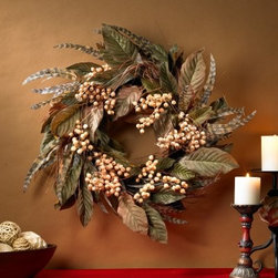 24 in. Feather and Berry Wreath - Bold. Charming. Impressive. What does your holiday wreath say about you? Full of berries foliage and feathers this is no ordinary decoration. An eclectic twist on traditional piece the Feather and Berry Wreath isn't afraid to make a festive statement. It's 2 feet wide!