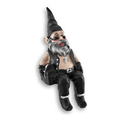 Zeckos - Gnoschitt Biker Gnome Shelf Sitter 6 In. - This is Gnoschitt, the bad biker gnome, ready to sit on your shelf, TV, computer, or bookcase. Made of cast resin, she measures 4 1/4 inches tall, 2 3/4 inches wide, and 2 1/2 inches deep. He is wonderfully detailed from his pointy gnome hat to curled tips of his boots, and he makes a great gift for gnome collectors and bikers.