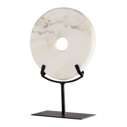 Cyan Design - White Marble Disk Sculpture, Small - The White Marble Disk Sculpture is an ancient form with modern appeal.  Carved from snowy white marble with gentle grey and gold veining, the simple stone disk rests in a custom black iron stand (included).  Choose a large or medium sculpture for a commanding objet d'art, or display in pairs for maximum impact.  The White Marble Disk Sculpture add an element of sophistication and luxury to contemporary or transitional interiors.