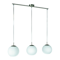 Philips Luminaire - Globe Shaped Roomstylers Pendant - Express your style with this  three-light adjustable height linear pendant.   It's white globed shaped glass provides a slim, sleek, chic design, a perfect combination of form and function.