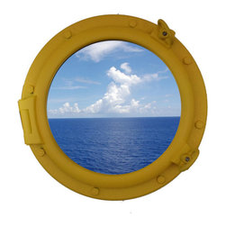 "Handcrafted Model Ships - Yellow Porthole Window 20"" - Beach Home Accent - This Yellow Porthole Window 20"" adds sophistication, style, and charm for those looking to enhance rooms with a nautical theme. This boat porthole has a sturdy, heavy and authentic appearance, yet it is made of wood and fiberglass to lower the weight for use as nautical wall decor. This porthole window makes a fabulous style statement in any room with its classic round frame, eight solid rivets and two dog ears surround the perimeter of the porthole frame."