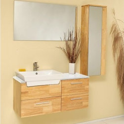 Fresca Caro Natural Wood 35.5-in. Modern Single Bathroom Vanity & Mirrored Side - Clean lines and modern functionality make the Fresca Caro Natural Wood 35.5-inch Modern Single Bathroom Vanity and Mirrored Side Cabinet a welcome part of any contemporary decor style. This beautiful combo features a stand-alone mirror mirrored side cabinet generous square basin free faucet and spacious soft-closing drawers. Available in a natural oak finish.About Fresca BathFresca Bath believes that the bathroom is the most important room in the home. This is why they have created product lines that pair top-quality materials with cutting-edge designs. No detail is too small when creating a space that looks functions and feels great. Fresca Bath showcases contemporary fixtures vanities mirrors and more to create a space that enhances the home and pleases every desire of their customers.