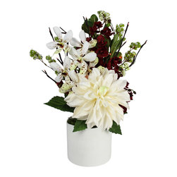 The Firefly Garden - Christmas Bouquet - Illuminated Floral Design, White Dahlia with Red Lights - A delicate white Dahlia is accented with white and red Vanda Orchids, along with Pittosporum in a white ceramic textured vase.  This elegant bouquet is illuminated by Red LED branch lights.