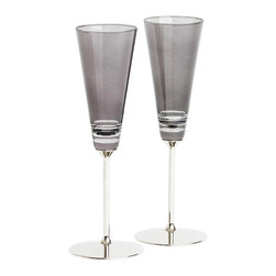 Nick Munro - Set of 2 Smoke Champagne Flutes - Inspired by Nick Munro's many visits to New York City, the sultry and sophisticated Smoke barware collection combines hand-cut tinted glass with polished metal details for a cosmopolitan look.