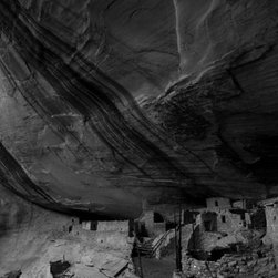 """""""Ancient Anasazi Ruins at Keet Seel"""" Artwork - Eight hundred year old artifacts beneath soaring sandstone are signs of an earlier climate change calamity for human civilization. Matted to 16 x 20 with acid-free materials."""