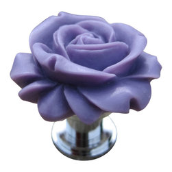 DaRosa Creations - Petite Rose Drawer knobs - cabinet knobs in Dark Purple - Petite Rose Drawer knobs  - Cabinet Knobs in Dark Purple