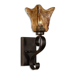 Joshua Marshal - Oil Rubbed Bronze Single Light Wall Sconce From The Vetraio Collection - Oil Rubbed Bronze Single Light Wall Sconce From The Vetraio Collection