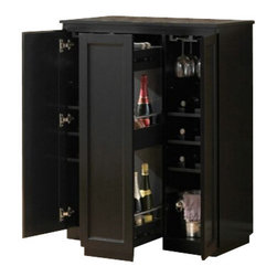 "Acme - Ioanis Black Finish Wood Bar Cabinet with Center Pull Out Shelf - Ioanis Black Finish Wood Bar Cabinet with Center Pull Out Shelf. Features wine bottle holders and glass racks, center slide out shelf and 2 side opening cabinet doors. Measures 34"" x 16"" x 42""H. Some assembly may be required."