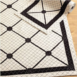 Fatima Rug - Ballard Designs - This fun black and white rug fools your eye a bit as its pattern looks like tile. It will add vintage modern style to your floors.