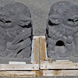 """Chinese Foo Dogs, Hand Carved Lava Stone - A beautifully detailed pair of Chinese Foo Dogs, hand carved from Lava Stone.  12"""" wide x 15"""" deep x 20"""" tall, approximately 135lbs each. (This picture shows the male Foo Dog on the left and the female Foo Dog on the right)."""