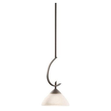 Kichler - Kichler 3478OZW Olympia Single-Bulb Indoor Pendant with Dome-Shaped Glass Shade - Kichler 3478 Olympia Pendant