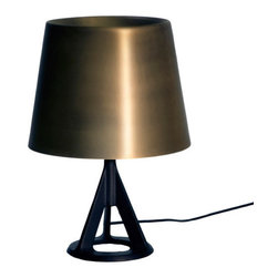 Tom Dixon - Tom Dixon Base Table Lamp in Brass - The Base Table Light is sand cast in rough iron and finished with a black powder coat. The brass shade is spun, rolled and lacquered with a soft satin finish. The warm hued brass gives a soft, ambient light.
