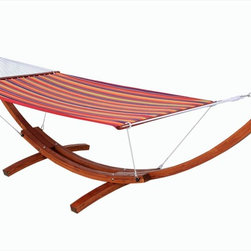 Kontiki - Kontiki Beach, Pool & Lounge Wooden Hammocks - [1.0 piece/piece]   The wooden hammock base and quilted sling is a unique and comfortable product, created to bring warmth and relaxation to your home. Create an outstanding exterior design statement with this wonderful product in your backyard or on your deck.  Your family will love relaxing at home with BuildDirect's hammock system  A standalone base with a fabric that's easy to wash and maintain, the wooden hammock base and quilted sling will be a favorite in your family home. With enough space for an adult to relax or a couple of children to snuggle up, this fantastic hammock system will provide comfort and value for years to come.   Because it's easy to put up in your home or backyard and simple to wash, this product will provide lasting cottage style. A fun and polished exterior design option, the wooden hammock base and quilted sling will augment the look and feel of your home, especially in the warm summer months.   At BuildDirect, we search out the best value and price for our customers  With your purchase of a wooden hammock base and quilted sling, BuildDirect can save you money. Not only does BuildDirect provide you with the most competitive prices in the market, this product comes with a warranty, which is rare in the accessories industry. You'll know that you're getting more for your money.  You can count on BuildDirect for quality. We work closely with our international suppliers to bring the highest standards to your purchase, especially when it comes to luxury products like this one.
