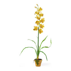 Nearly Natural - Cymbididium with Moss Pot Silk Orchid Arrangement - This beautiful cymbidium orchid can fool even the most educated orchid enthusiast. Crafted from latex to create a realistic look and feel, it comes in yellow, burgundy, mauve, purple, and linde shades. It stands 32 inches tall and the leaves span up to 29 inches wide. The gorgeous 5-inch base is covered in an artificial moss that gives it the ultimate life-like appearance. The stem is tied to a bamboo stick and an abundance of orchid leaves and roots reside at the base of the plant. Brilliant and elegant, this amazing orchid is the perfect addition to any decor. Color: Yellow, Height: 32'', Vase: H 4-1/2'' W 5'
