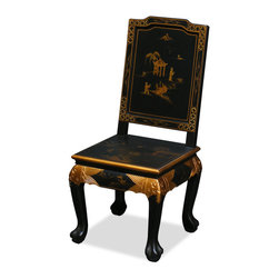 China Furniture and Arts - Hand Painted Chinoiserie Scenery Design Chair - This majestic 18th-century Queen-Ann chair is hand painted with opulent of Chinoiserie gold scenery motif that makes is an elegant work of art. It is an eye catching piece wherever it is placed.