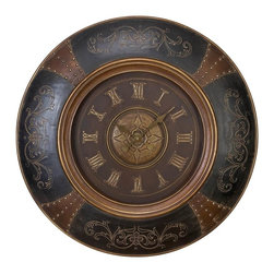 Aspire - 36 in. Elegant Wall Clock - This large wooden clock will add an elegant touch to your decor. Features of the clock include faux leather with nail-head trim and elegant carvings decorating four sides of the clock. A beautiful medallion adds to the charm of this clock. Wood. Color/Finish: Black, brown. Operates using one AA battery (not included). 36 in. H x 36 in. W x 2.5 in. D. Weight: 42 lbs.