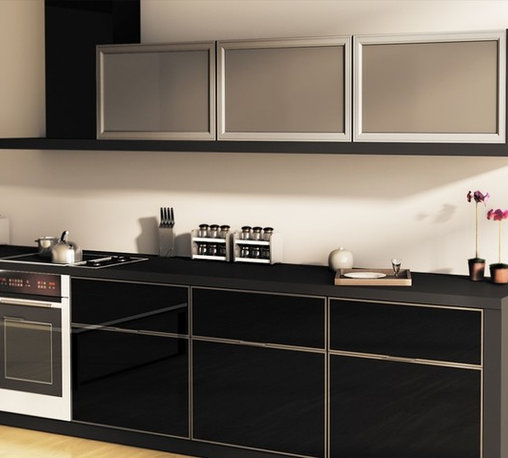 Glass Kitchen Cabinet Doors - We offer the largest selection of aluminum fronts on the market, generous selection of anodized aluminum finishes and wide selection of inserts. The doors are custom made to desired dimensions and specifications. Average fabrication time is only 1-2 weeks.