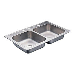 Moen - Moen 22129 Commercial Stainless Steel Double Bowl Sink - The Commercial series features a classic design and versatile accessories make it perfect for any application.