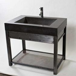Steel Vanity with Charcoal concrete sink - Work Shop Denver
