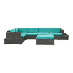 Modway - Modway EEI-611 Harbor 6 Piece Sectional Set in Espresso Turquoise - Immerse yourself in the depth of new surroundings as you become acquainted with the art of making socially innovative gatherings. Catch the perfect angle for boundless views of reality with this easily reconfigured outdoor set. Expand horizons and open new vistas as hidden opportunities rise to the surface.