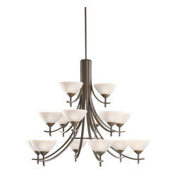 Kichler Lighting - Kichler Lighting 1681OZW Chandelier - Olde Bronze with Satin Etched White Glass - Bulb Type: CAND. Bulb Base: Candelabra (E12). Bulb Count: 15. Bulbs Not Included