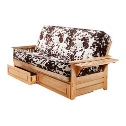 Kodiak Furniture - Phoenix Natural Futon Frame with Futon Mattress in Udder Madness, With Full Draw - Bright contrast upholstery makes this futon set (solid wood frame and mattress in Udder Madness cover) a stylish and memorable seating platform. Its side arms can be flipped up to open convenient trays for placing cups, snacks, books and anything else. Available with or without drawers.