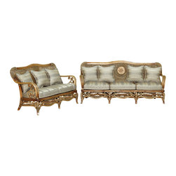 royola pacific - 2 Pc Solid Wood & Rattan Bentwood Elizabethan Lounge Loveseat & Sofa Set - •Solid wood construction w/ rattan accents