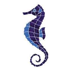 "Ocean Pool Mosaic - Large Blue Seahorse Pool Accents Blue Pool Glossy Ceramic - Sheet size:  9"" x 22""     Tile thickness:  1/4""      Sheet Mount:  Mesh Backed        - We offer six lines of in-stock designs ready for immediate delivery including: The Aquatic Line  The Shadow Line  The Hang 10 Line  The Medallion Line  The Garden Line and The Peanuts® Line.All of the mosaics are frost proof  maintenance free and guaranteed for life.Our Aquatic Line includes: mosaic dolphins  mosaic turtles  mosaic tropical and sport fish  mosaic crabs and lobsters  mosaic mermaids  and other mosaic sea creatures such as starfish  octopus  sandollars  sailfish  marlin and sharks. For added three dimensional realism  the Shadow Line must be seen to be believed. Our Garden Line features mosaic geckos  mosaic hibiscus  mosaic palm tree  mosaic sun  mosaic parrot and many more. Put Snoopy and the gang in your pool or bathroom with the Peanuts® Line. Hang Ten line is a beach and surfing themed line featuring mosaic flip flops  mosaic bikini  mosaic board shorts  mosaic footprints and much more. Select the centerpiece of your new pool from the Medallion Line featuring classic design elements such as greek key and wave elements in elegant medallion mosaic designs."