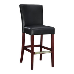 "Powell - Powell Black Bonded Leather Bar Stool - The black leather bar stool is the perfect piece that is sure to complement any decor. The sleek ""Light merlot"" finished legs and the ""Antique brass"" foot rest add a touch of interest to this somewhat simple piece. The stool is covered in rich black bonded leather. The seat height measures 30-1/4"". Some assembly required."